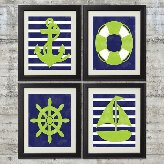 Nautical Nursery Art, Boys Nautical Bathroom Art Print Set of 4 - 8x10 Prints in Navy and Lime Green on Etsy, $44.00