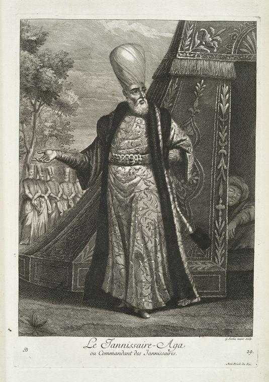 van mour-Le jannissaire-aga, ou commandant des jannissaires (1714)Jean-Baptiste van Mour'un (1671 – 1737) altında basılan Osmanlı gravürleri.