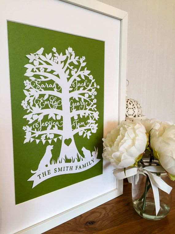 Papercut Personalised Family Tree by LaurasPaperLace on Etsy