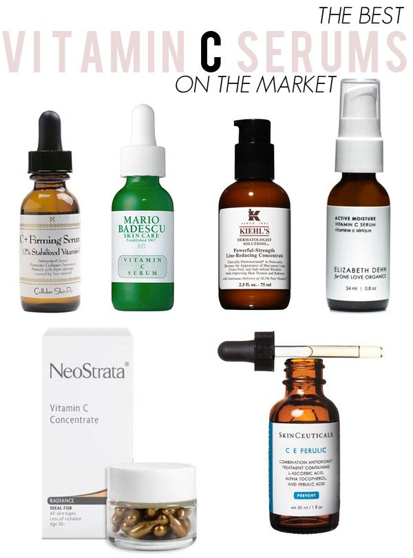 The best vitamin C serums on the market: cellular skin rx c+firming serum (12% l-asorbic acid), $38 | skinceuticals c e ferulic (15% l-asorbic acid), $153| neostrata vitamin c concentrate (10% l-asorbic acid), $37 | kiehl's powerful strength line reducing concentrate (10.5% l-asorbic acid), $77 | mario badescu (7.5% l-asorbic acid), $50 | elizabeth dehn for one love organics vitamin c active moisture serum, $63 (3% l-ascorbyl palmitate*)