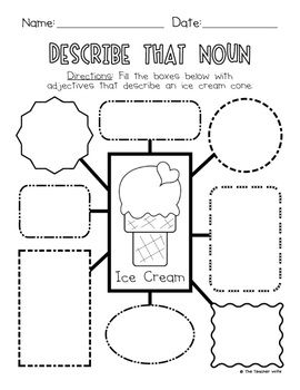 Students use worksheet to learn about how to describe a noun aka write adjectives. Then, students play a little game to create a sentence with predetermined nouns, verbs, and adjectives. This activity encourages students to be more descriptive with their writing.