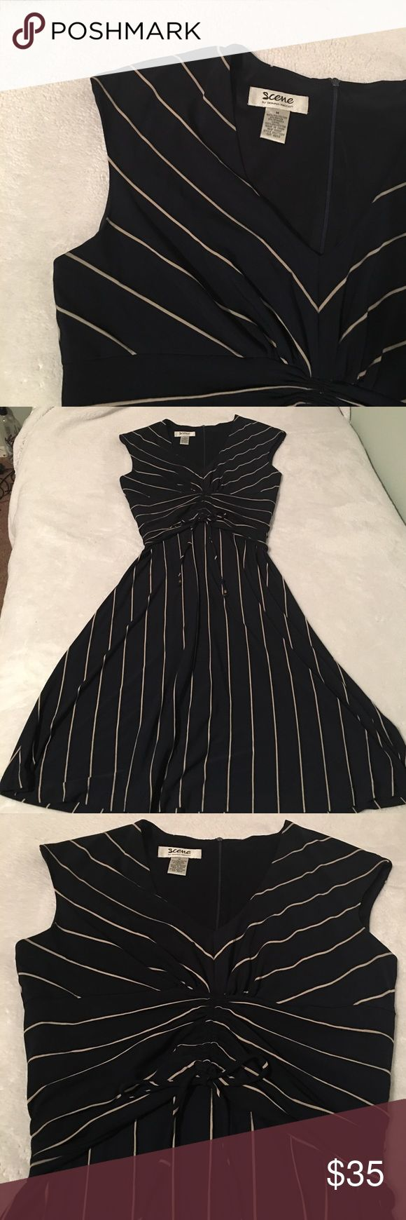 Donna Ricco Flattering Dress A very modest and classy dress, the material is a bit thick and heavy. The middle, right below the bust has an adjustment pull string. Has a back zipper. Could possibly fit a L. The color is a Dark Navy Blue, not Black. Donna Ricco Dresses