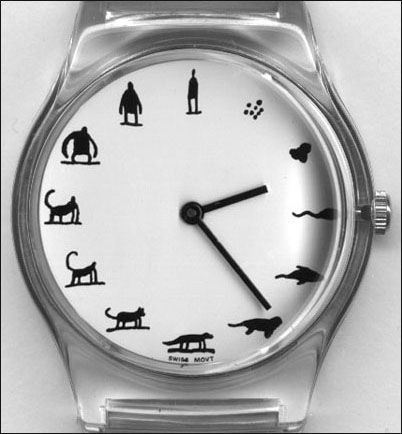It's Darwin Time. Evolution watch designed by Tom Gauld for United Arrows.