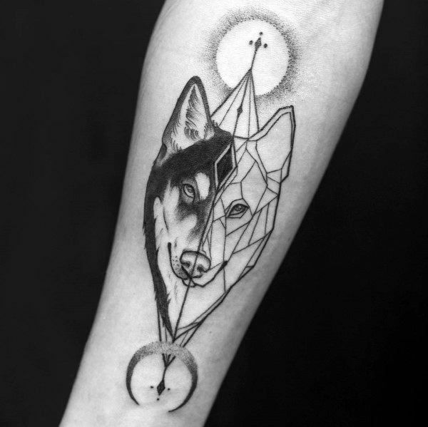Guys Siberian Husky Tattoo Design Ideas Siberianhuskytattoo