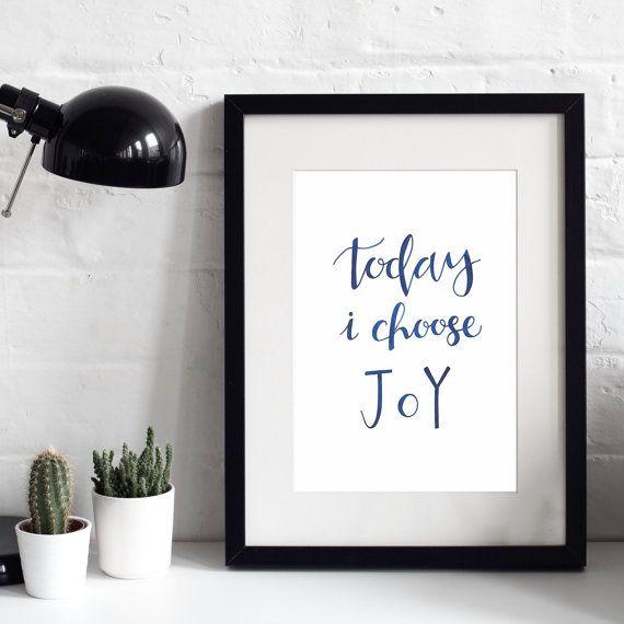 20% OFF - Today I Choose Joy A4 Original Print - Faith Prints - Christian Prints - Modern Print Design - Inspirational Quotes