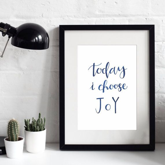 20% OFF - Today I Choose Joy A4 Original Print - Faith Prints - Christian Prints - Modern Print Design - Inspirational Quotes