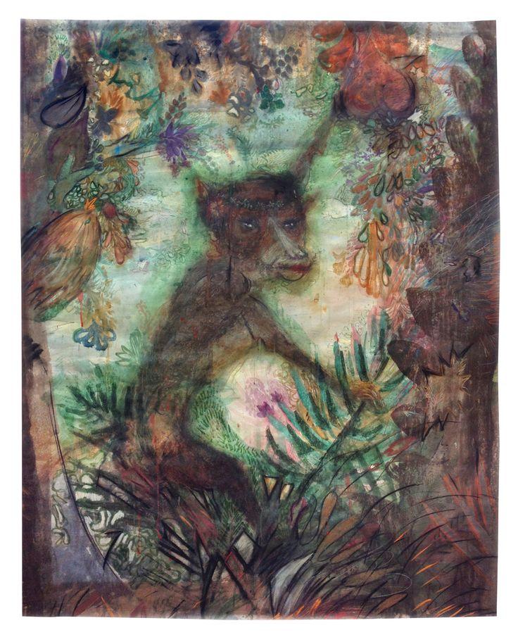 MONA REINA 140x120 Cm, #Monkey, #fern, #plants, #palm, #fruits, #painting, #forest, #jungle