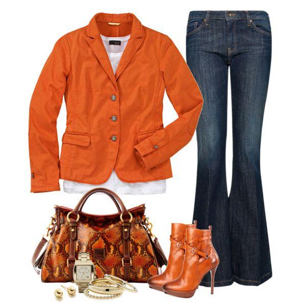 С чем носить рыжие ботильоны: оранжевый пиджак и сумка