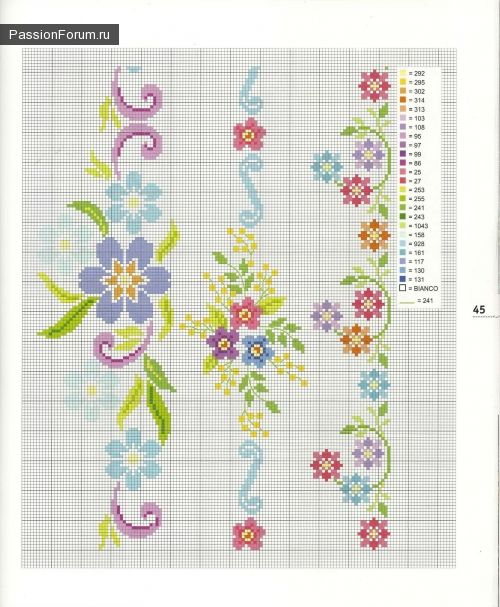 Cross-stitch Floral Borders