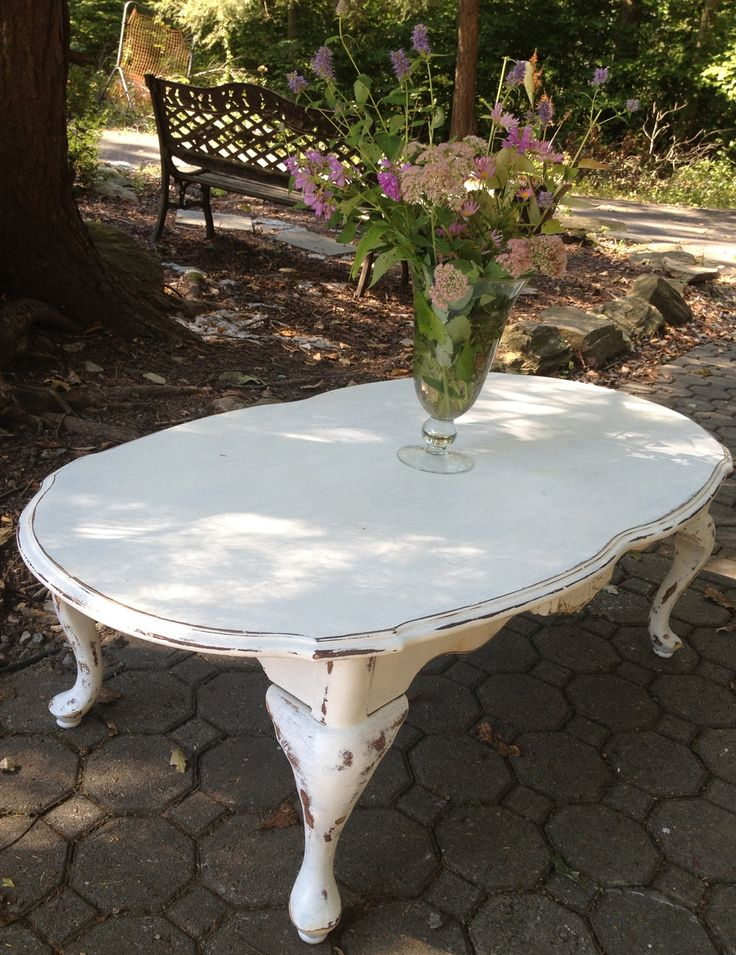 Shabby chic vintage coffee table..farmhouse..cottage...french country. $195.00, via Etsy.