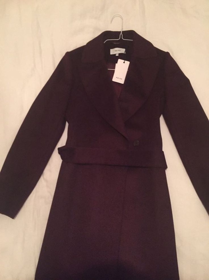 BRAND NEW Ladies Reiss Coat Forley 10UK Burgundy Plum Colour SOLD OUT with Tags #Reiss
