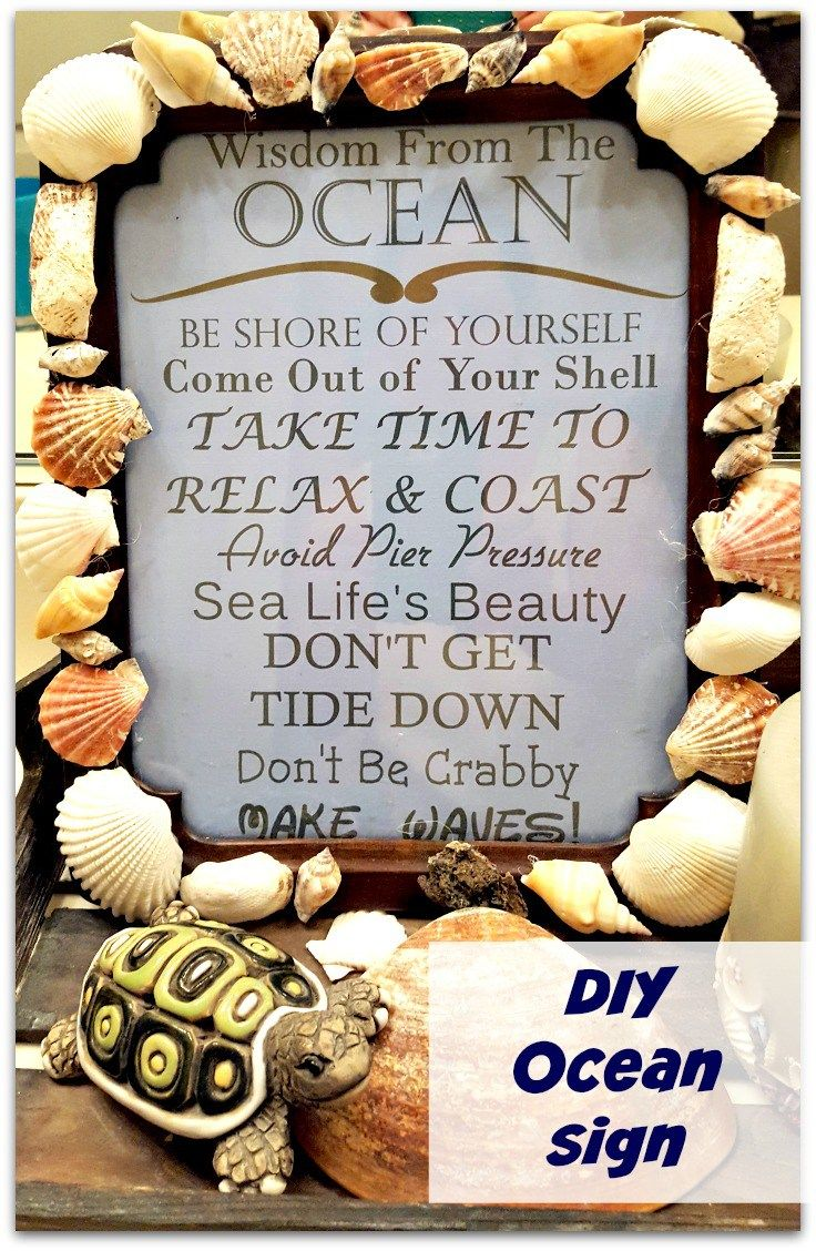 An easy and cute addition to an ocean themed bathroom!  Super cheap sign to make!