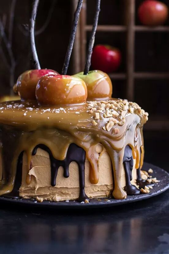 Apple cake - I like the twigs in the caramel apples. It's like an arrangement.