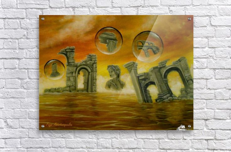 Art for home, Acrylic Print, Painting, monuments,temples,ancient,historical,old,era,archeological,finds,antiquity,classic,oldtimes,statue,greek,godess,european,fantasy,scene,bubbles,seascape,water,sky,clouds,picturesque,whimsical,vibrant,vivid,colorful,orange,golden,impressive,cool,beautiful,powerful,atmospheric,celestial,mystical,dreamy,contemporary,imagination,surreal,figurative,modern,fine,oil,wall,art,images,home,office,decor,artwork,modern,items,ideas,for sale,pictorem