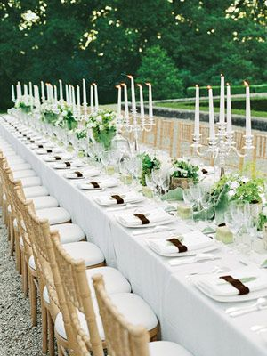 Guest Dining Table - wind would blow out the candles, so I'd use hurricanes, but I love the simple green/white theme.