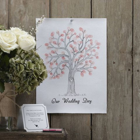 'A #Vintage Affair' Wedding Guest Fingerprint Tree.  This little #fingerprint tree is great as a unique #wedding #guestbook - guests can simply leave their fingerprints using the ink provided to say they shared a special day with the bride and groom!  #Cute #Wedding Essentials by Cadeaux - Cadeaux.ie