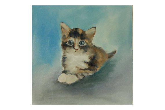 Canvas oil painting miniature cat portrait pet от TimanovArt