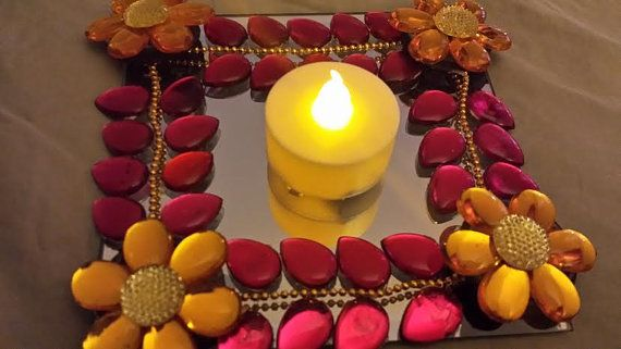 Designer Mirror Modular Kundan Rangoli in Hot by JustForElegance, $15.00