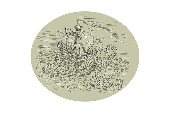 Tall Ship Turbulent Sea Serpents by patrimonio on @creativemarketDrawing sketch style illustration of a tall ship sailing in turbulent ocean sea with serpents and sea dragons around set inside oval shape.  #illustration #TallShipTurbulentSeaSerpents