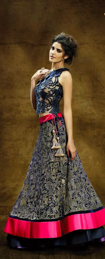 Navy and pink lace lehenga.