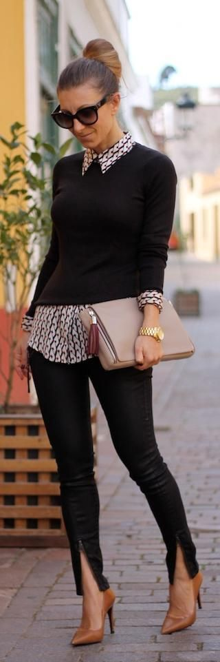 work outfit - black sweater + black skinnies + neutral toned printed silk shirt + nude stilettos