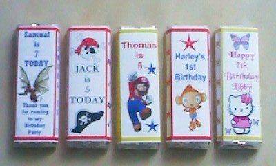 18 personalised WAYBULOO chocolate wrappers