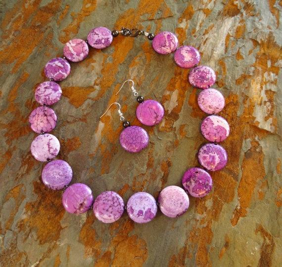 Unique Lilac Purple Magnesite Necklace by WildflowersAndGrace, $42.00