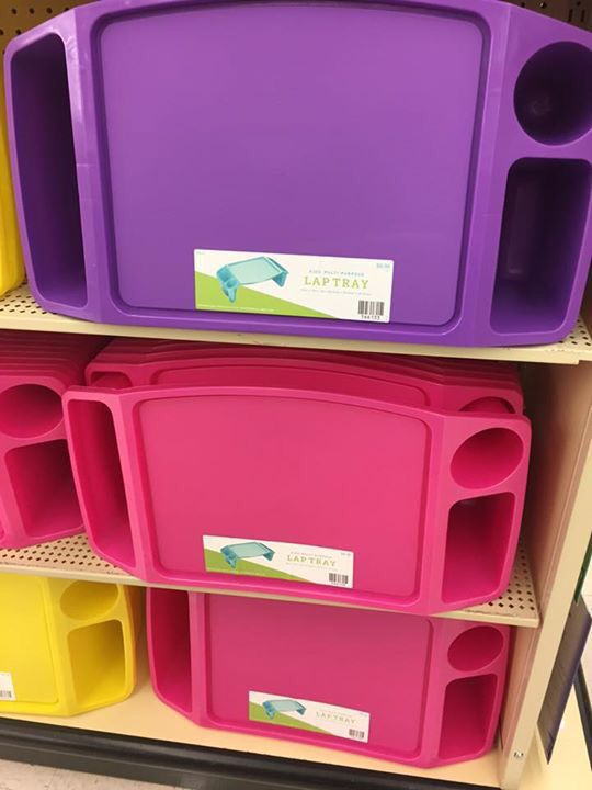 Lap trays at Hobby Lobby for $6 and look for coupon!