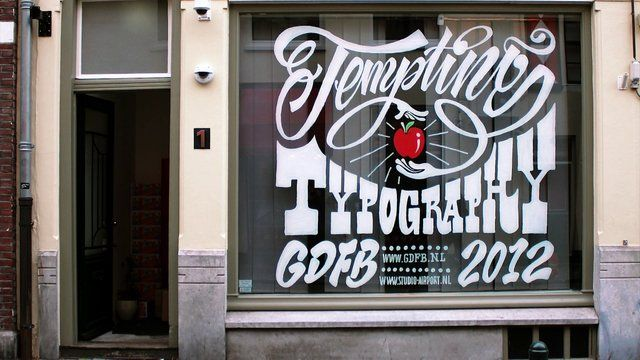 During the Graphic Design Festival Breda, Studio AIRPORT held a workshop called 'Tempting Typography'. This three-day-long workshop was based on window-typography.