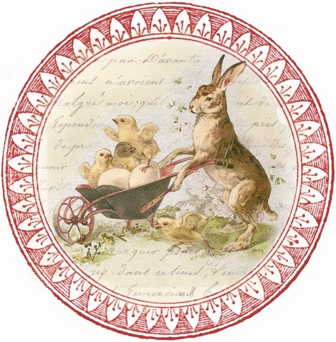 Rabbit pushing wheel barrow of chicks.