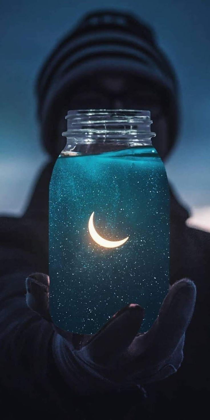 Den Mond einfangen, ein sehr cooles Bild, das perf…