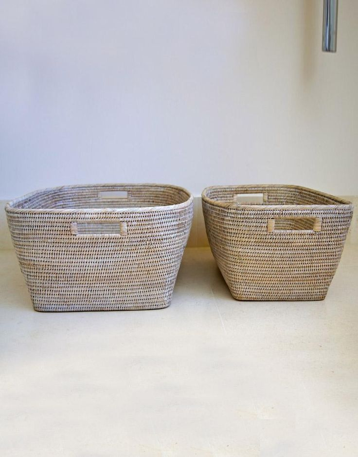 White Washed Rattan Storage Basket Baskets Boxes Etc