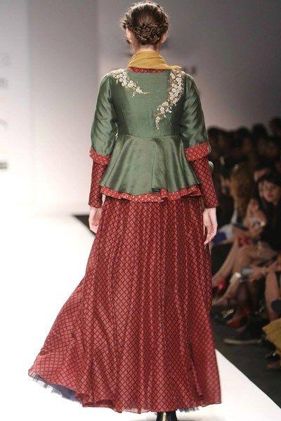 Lehengas, Clothing, Carma, Flared kurta top with ajrak print kalidar