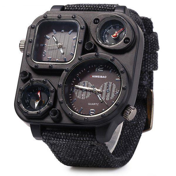 $9.90 Shiweibao J1169 Dual Movt Decorative Thermometer Compass Men Quartz Watch