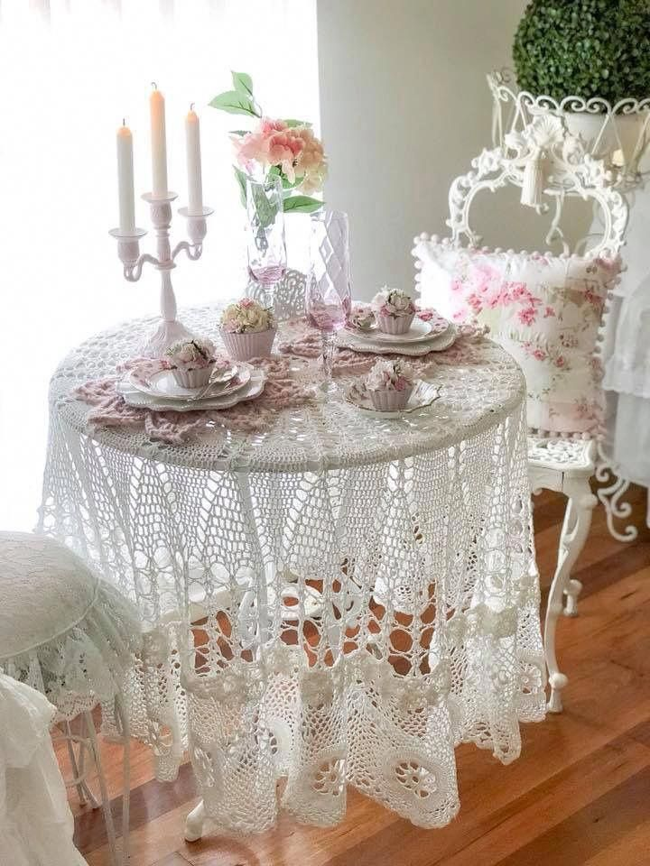Lace On A Glass Table Perfection Shabbychicfurniture Shabby