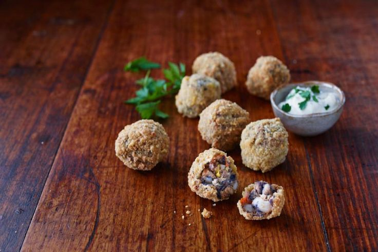 Colonial Farm - Spicy Bean Nacho Balls! A unique blend of vegetables, black beans and cannellini beans enlivened with nacho spices and encased in a CORN CHIP CRUMB!