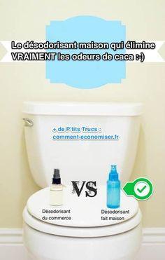 Avec ce désodorisant maison, fini les odeurs de caca désagréables :-) Facile et rapide à fabriquer, ce spray est totalement naturel et ne contient aucun produits chimiques !  Découvrez l'astuce ici : http://www.comment-economiser.fr/desodorisant-maison-efficace-naturel-qui-elimine-odeurs-caca.html?utm_content=buffer518ba&utm_medium=social&utm_source=pinterest.com&utm_campaign=buffer