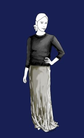 Ein einfacher Rundhals-Pullover kann zusammen mit einem langen Glitzer-Rock ein sehr festliches Outfit ergeben.