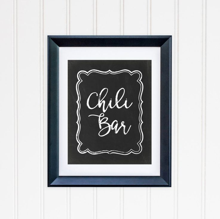 Chili Bar Party Table Sign Printable Chili Table Sign Chalkboard Table Sign Party Sign Buffet Table Sign Black and White Table Sign 217 by MossAndTwigPrints on Etsy