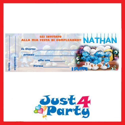 Inviti-festa-I-PUFFI-novita-30-pezzi-compleanno-personalizzabile