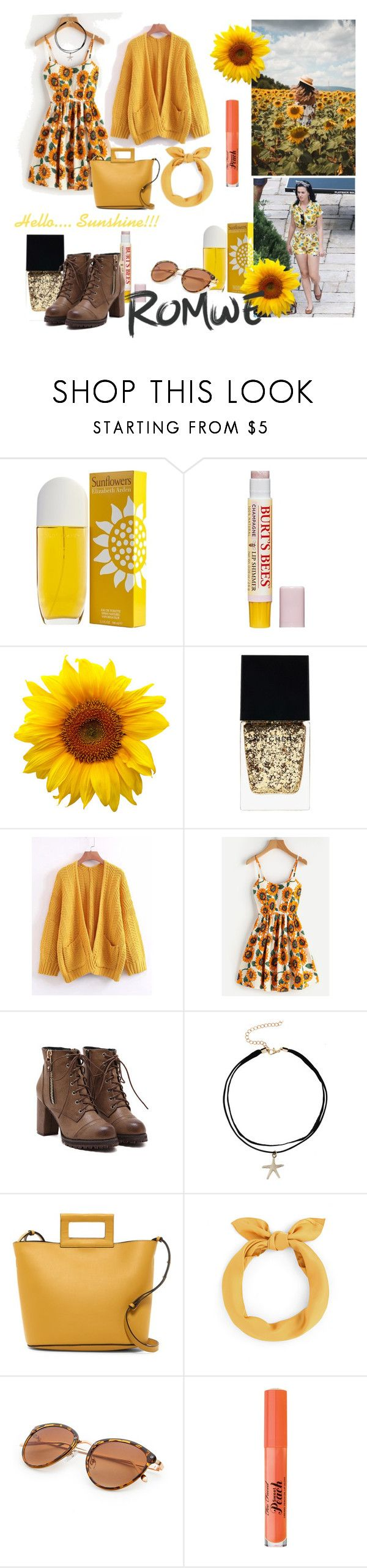 Hello Sunshine Yellow by paisleyvelvetandlace on Polyvore featuring French Connection, Too Faced Cosmetics, Burt's Bees, Elizabeth Arden, Witchery and American Apparel