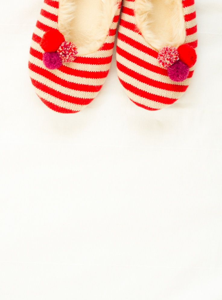 striped slippers with pom poms :: target