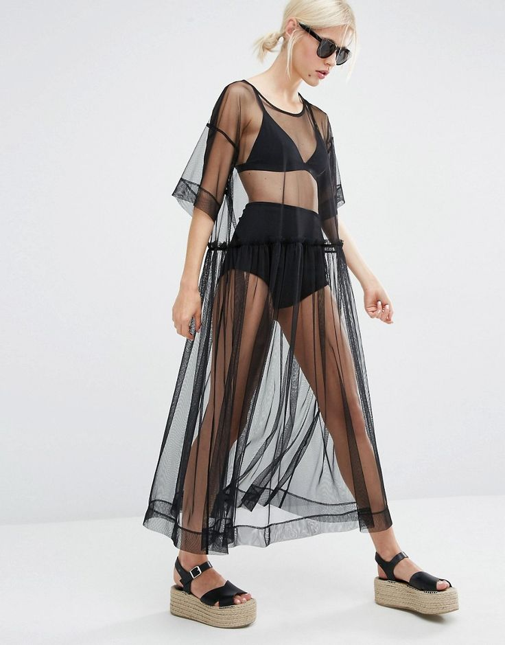Monki+Sheer+Mesh+Dress
