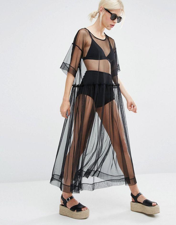Monki Sheer black Mesh Dress for beach days