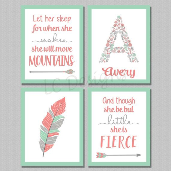 Bohemian Girls Nursery Digital Print Set of 4 she is fierce 8x10 set mint coral gray arrow tribal quote personalized name let her sleep