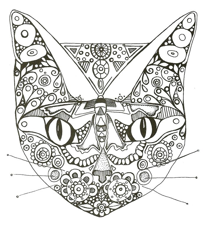 Cat mask to color coloriage un masque de chat secret garden and grownup coloring books - Coloriage masque ...