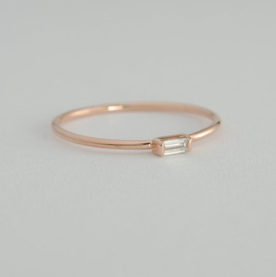 Diamond Baguette Engagement Ring .06 Carat Diamond with Rose Gold Conflict Free £127
