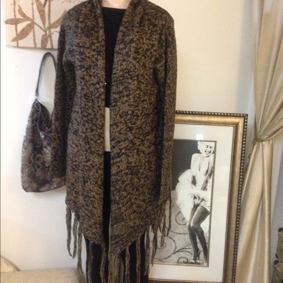 SWEATER SALE! Fringed brown/Blk cardigan Gorgeous medium weight long cardigan with knitted fringe at  hem! Available in Black and White Knit! Love and Liberty Sweaters Cardigans