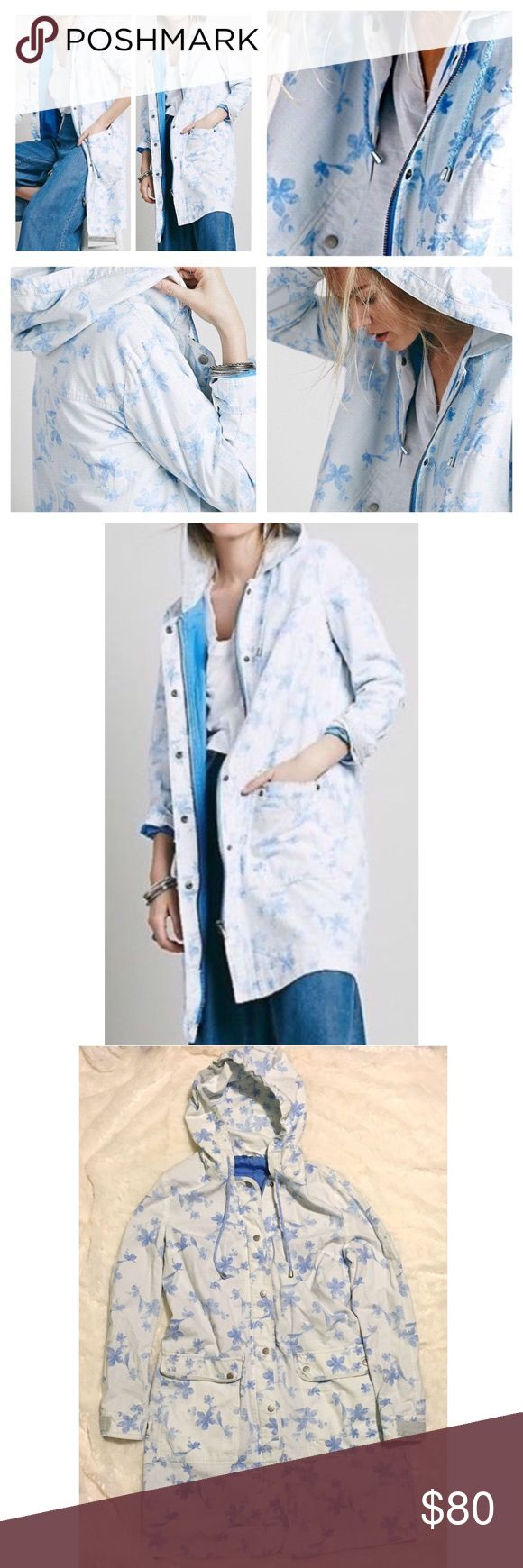 Free People Floral White & Blue Parka Jacket Brand new WITHOUT tags, size Medium. This Free People Floral White & Blue Hooded Long Parka Jacket is so beautiful! This white jacket is adorned with gorgeous blue flowers all over! The perfect jacket for spring. Two front pockets with snap buttons. Grey detailing at the cuffs. Such a feminine, cute and unique jacket! Zipper closure with silver snap buttons. Blue lining inside. Free People Jackets & Coats