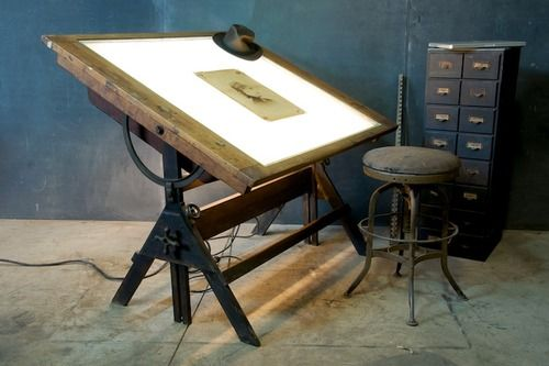 drafting table / workplace / desk / workspace / library cabinet / stool / chair / oldstyle